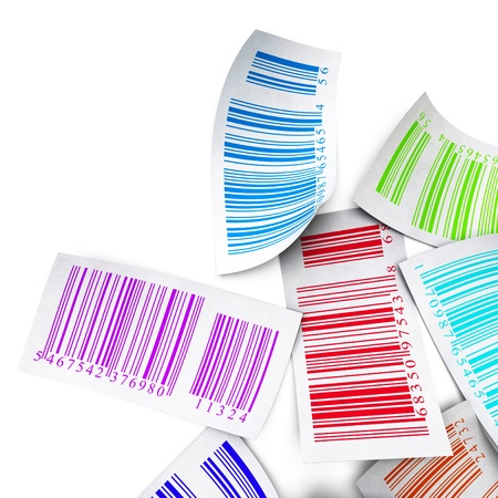 labeling: multicolored bar codes over a white background border angle of a page top view Stock Photo