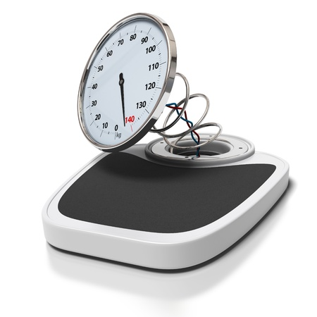 weight: broken bathroom scales over a white background -  overweight concept - square images Stock Photo