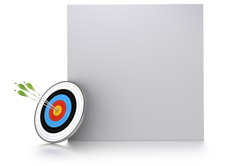 achieved: three green arrows and one target near of a square block for communication or advertising. 3D render over white background Stock Photo