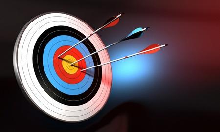 flecha azul: objetivo y la flecha azul de golpear el centro de toro Foto de archivo