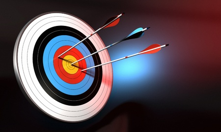 archery: target and blue arrow hitting the center of bull