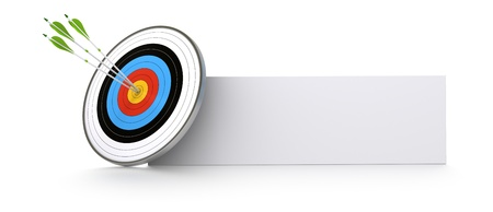 achieve goal: one target and three green arrows hitting the center of the bull Stock Photo