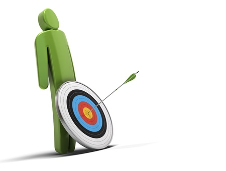 one green character in front of a target with an arrow hitting the bull Stock Photo - 11910927