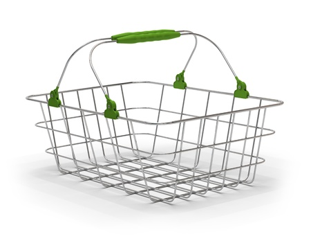 empty shopping cart: empty green metal basket over a white background