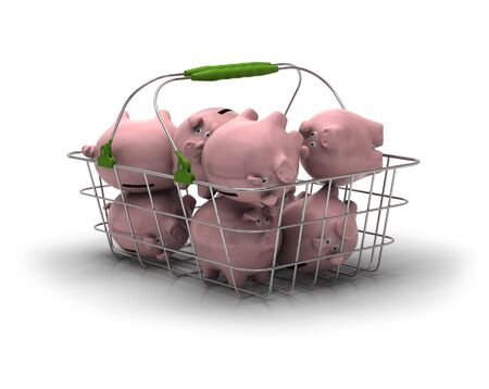 inflation basket: metal basket with lot of pink piggy banks inside over a white background