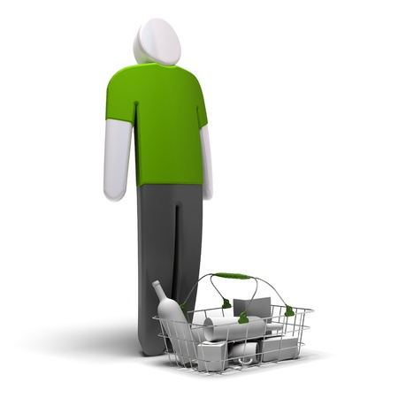 average consumer with green blank tshirt in front of a basket with goods inside, white background, 3d render photo