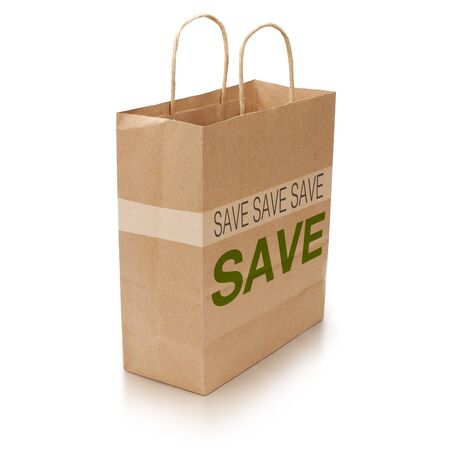 kraft shopping bag with the word save written on it over white background photo