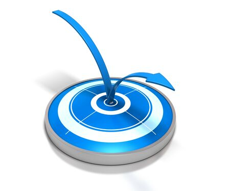 webmarketing: blue target and one arrow bouncing on it - symbol of bounce rate on a web page