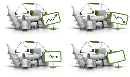 decreasing in size: paniere di beni all'interno, un cartello verde con un grafico indicano aumento, diminuzione o stagnazione dei prezzi, c'� anche un pannello bianco per testo libero, sfondo bianco