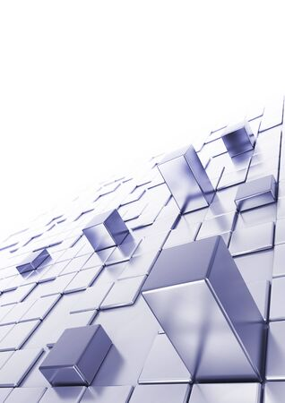 Abstract cubes background with blur at the background, top of the image is white, A4 vertical type  photo