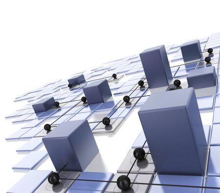 data distribution: modern technical background with a local area network LAN city is symbolized by cubes