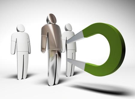 3 karakters en een groene hoefijzermagneet het aantrekken van de een van hen - grijze achtergrond Stockfoto