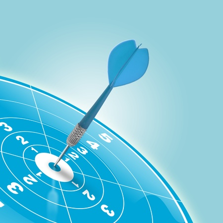 darts reaching the center of a blue target photo
