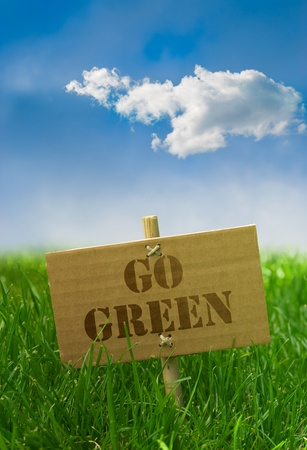 go green: Go green text written onto a carton board grass blue sky