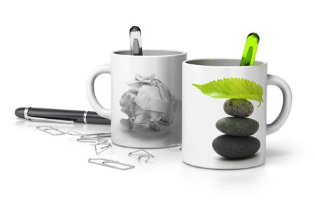 stressed out: two mugs one withe a paper bullet and the second one with a pebble pile and a green leaf at the top, conceptual image symbol of stressed and serene executive. white background