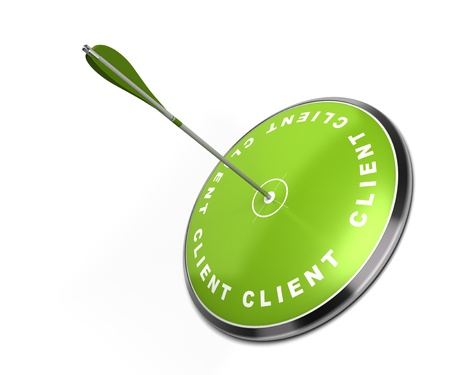 strategic focus: green target with the word client written on it with an arrow hitting the center - white background Stock Photo