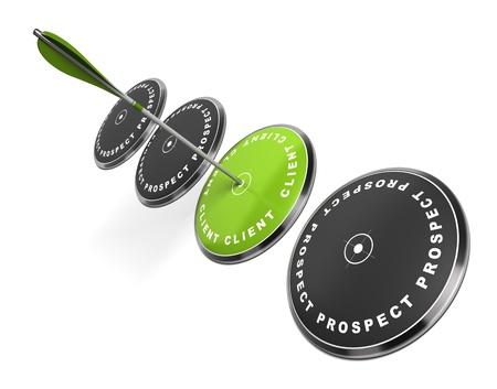 3 つのそれに書かれた word クライアントと緑のターゲット単語の見通しは、打撃、中心の矢印の黒いものホワイト バック グラウンド 写真素材