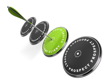 prospection: green target with the word client written on it three black ones with the word prospect, an arrow hitting the center, white background