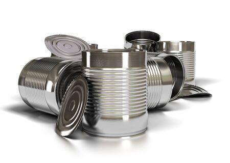 tin cans: veel gebruikte metalen blikken op een witte achtergrond, geopend blik