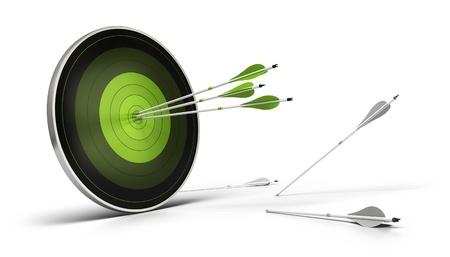 metas: objetivo verde sobre un fondo blanco con tres flechas que llegan a su objetivo, y las flechas en el piso de los blancos no logr� alcanzar su objetivo.