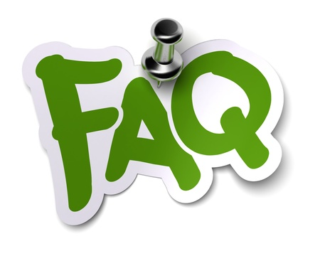 frequently asked question: green FAQ sticker over a white background fixed with a metal thumbtack