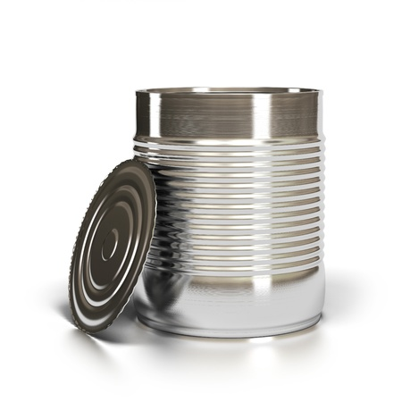 installed: Metal tin can over white background with lid installed against it Stock Photo