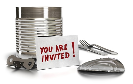 can opener: you are invited written on a card with tin can, lid, fork, knife and can opener over white background