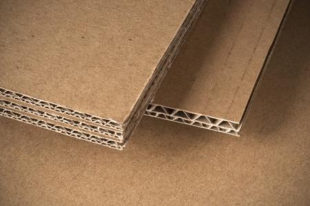 carton: hojas de cartón ondulado vista del lado