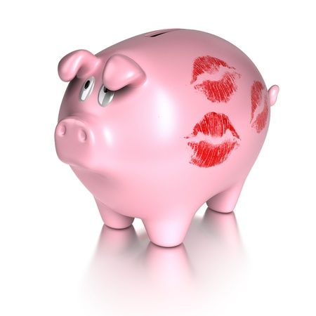 economize: kissed piggy bank with many red lips prints concept of investment and finance  White background