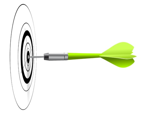achieve goal: one green dart hitting the center of a black target, white background