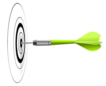 golpeando: un dardo verde golpear el centro de un blanco negro, fondo blanco