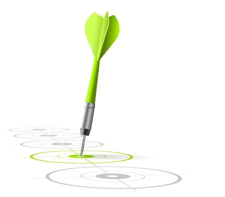 doelstelling: marketing strategie symbool Een groene pijl raken het midden van een doel met veel grijs andere doelen op een rij vector-bestand, witte achtergrond