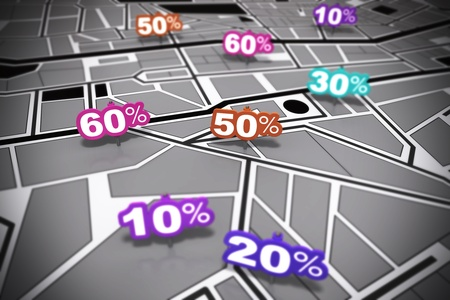 rebates: many percent signs over a grey city map with focus effect each number is pointing onto a different location Stock Photo