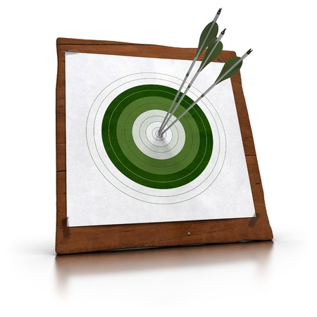 achieved: green target and 3 arrows hitting the center, the target is fixed onto a wooden plank by using plastic tape  there is reflection on the white floor