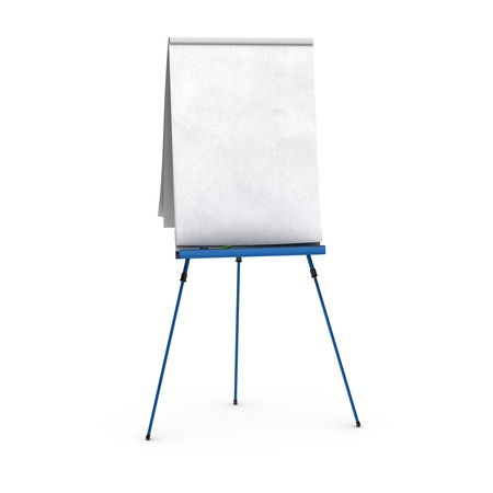 blank flipchart over white background view of the front side, with red, blue, and green pens, small shadows at the bottom photo