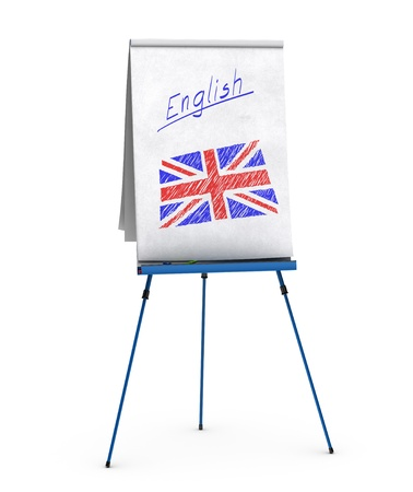 english flag: flipchart with the word english handwritten onto the paper and union jack flag Stock Photo