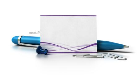 paperclip: blank business card with purple waves at the bottom, green ballpoint pen, thumbtack and paperclips over a white background with reflection  Stock Photo