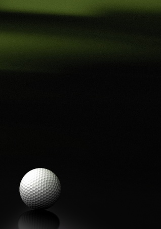 a4 background: Close up of a golf ball over a black and green background with noise at the top of the picture, the golfball is located at the bottom left of the image, there is room for text and reflection Stock Photo