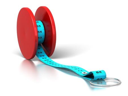 cintas metricas: cinta métrica de plástico enrollado en un yo-yo sobre un fondo blanco