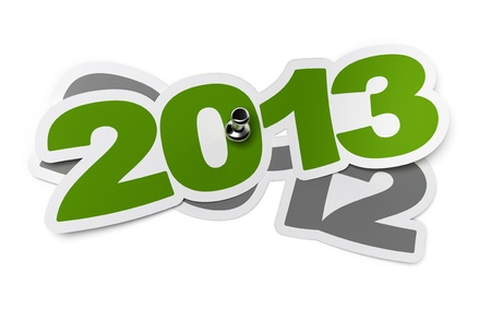 forecasts: 2013 - two thousand thirteen green sticker over 2012 two thousand twelve, white background with shadow and thumbtack
