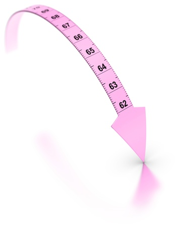 extremity: Plastic tape measure with an arrow at the extremity  Pink color over white background with reflection