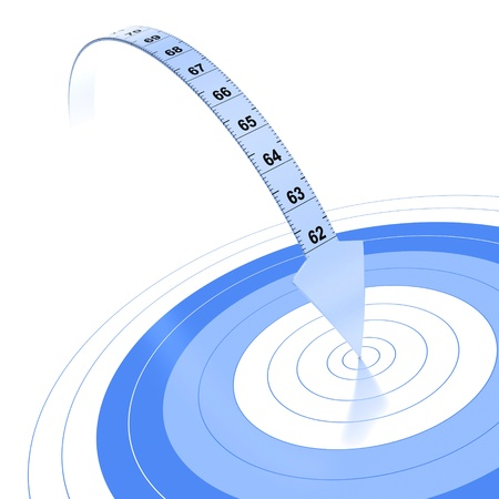 decreasing in size: Plastic tape measure with an arrow at the extremity  Blue color over white background with reflection and target