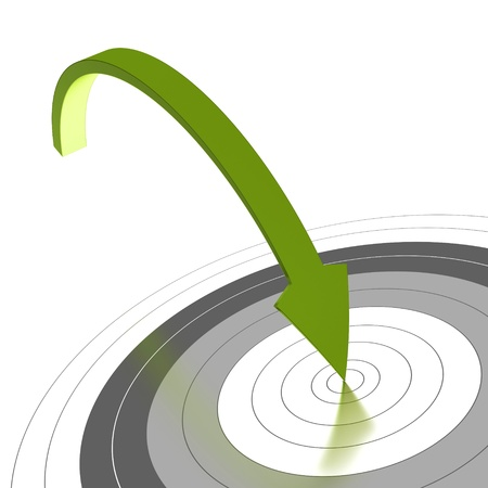 Green arrow reaching the center of a grey target and reaching the objective, white background, angle of a page