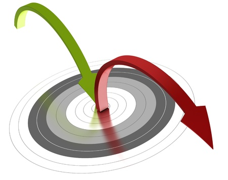 webmarketing: Green arrow reaching the center of a grey target and a red one bouncing out of the objective, white background