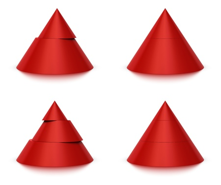 conical: 3d conical shape sliced, red pyramid 2  two  or 3  three  levels, white background and reflection