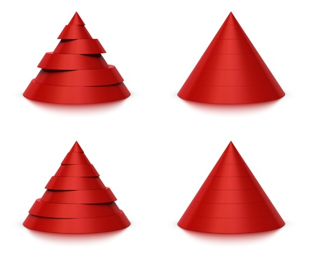conical: 3d conical shape sliced, red pyramid 6  six   or 7  seven  levels, white background and reflection