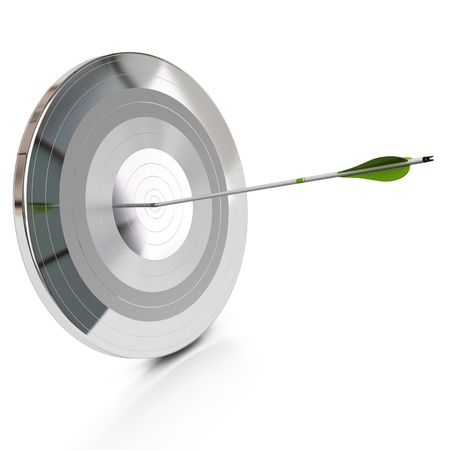 better business: metal target with concentric circles with an realistic green arrow hitting the center, white background and reflection, square image  Stock Photo