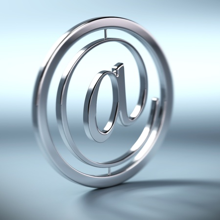 webmail: metal at symbol inside a circle, blue background, square image blur effect  Stock Photo