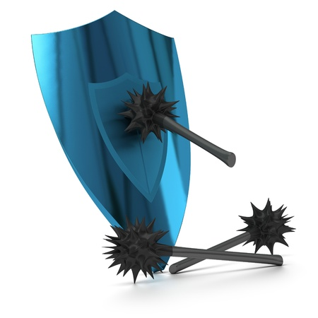 attempted: blue shield attacked by antique virusses image over white background