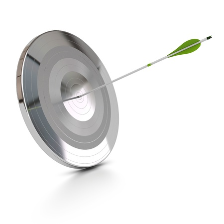 one metal target and a green arrow hitting the center, abstract concept, white background Stock Photo - 13168839